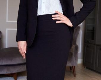Black midi skirt, office skirt, pencil skirt