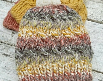 Bulky wool knit hat. Laurel beanie. Multi color thick yarn. Finished product. Women's/tweens winter hat. Pompom toque.  Striped winter hat.