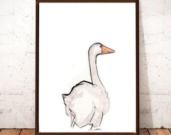 Goose,Bird Printable Art, Bird Drawing, Modern Wall Art, Instant download, Bird Art, Digital Art