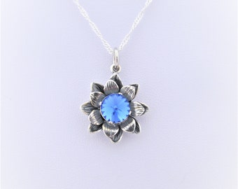 Sapphire Flower Pendant, Blue Crystal Necklace, Sapphire Swarovski Crystal pendant on Flower Silver setting