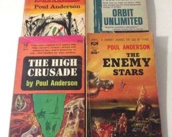 Vintage 1950's 1960's Poul Anderson Sci Fi Science Fiction Paperback Books Lot of 4 Shield Orbit Unlimited The High Crusade The Enemy Stars
