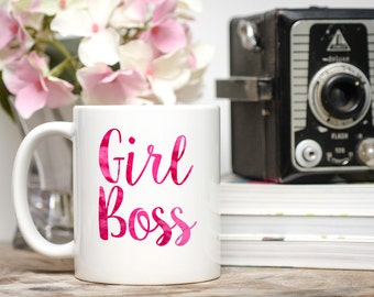 Girl Boss, Girl Boss Mug, Watercolor Mug, Inspirational Mug, Entrepreneur Gift, Entrepreneur Mug, Boss Mug, Boss Coffee Cup,  Girl Boss Cup