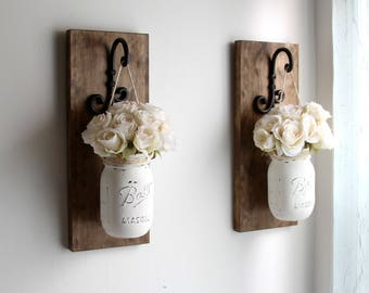 Wall Sconces-Rustic Wall Decor-Rustic Wall Sconces-Farmhouse Sconces-Rustic Home Decor-Wall Hanging Decor-Hanging Mason Jars-Farmhouse Decor