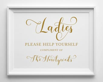Ladies Wedding Bathroom Sign | 8x10 Sign | 5x10 Sign | Printable Sign | Black | Antique Gold | PDF and JPG Files | Instant Download