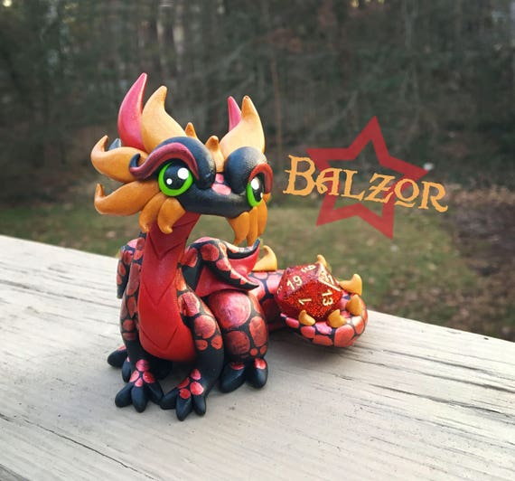 Polymer Clay Dragon Dice Holder- Black, Red, and Gold Dragonling: Balzor