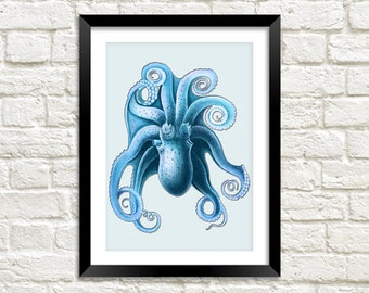 BLUE OCTOPUS PRINT: Vintage Octopus Sea Life Art Illustration Wall Hanging (A4 / A3 Size)