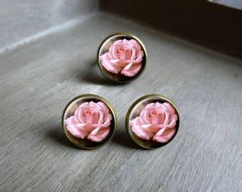 Parure romantique les roses boucle d'oreille type puce et bague cabochon parure cabochon rétro vintage bijoux romantique