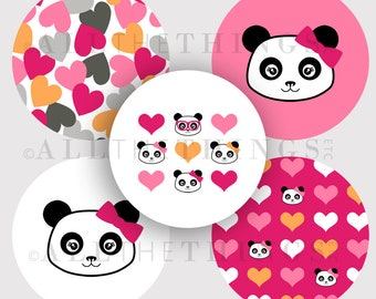 CLEARANCE!  PANDA ACADEMY Clip Art Images Designer Graphics Bears Images One & Two Inch Circle m2mg - Instant Digital Download