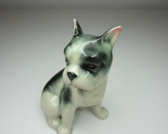 Glossy Bossy Boston Terrier - Vintage 1950s Japan - What a Face!
