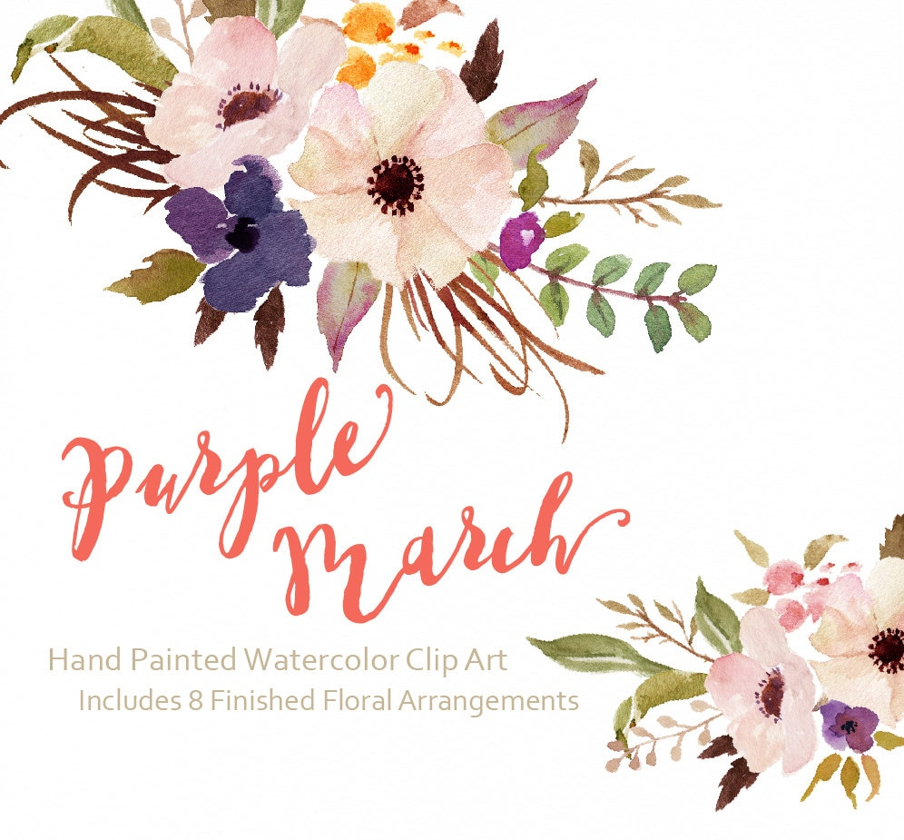 Watercolor flower clip art purple march individual png for Spring flowers watercolor