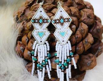 Turquoise and seed bead earrings