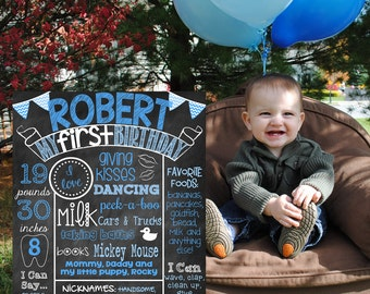 First Birthday Chalkboard Poster Sign Baby's First Birthday Poster Girl or Boy You Pick Colors