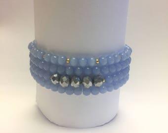 Aquamarine beaded bracelets