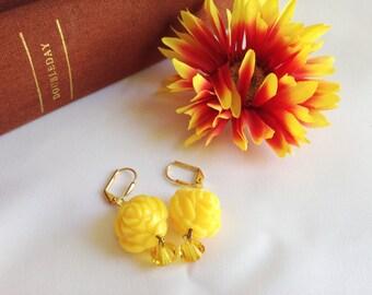 Yellow rose earrings, Tarina Tarantino style, bright and colorful earrings, boho bohemian, summer, Swarovski crystal Gift for her