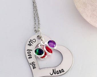 Personalized Grandma Necklace - Silver Heart with Birthstones - Custom Hand Stamped Jewelry Gift for grandma mother Nana
