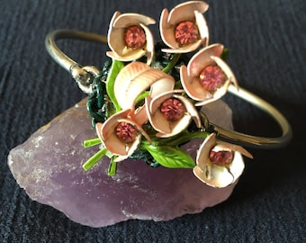 Upcycled Silver Bracelet with Pink Flower Rhinestone Detail