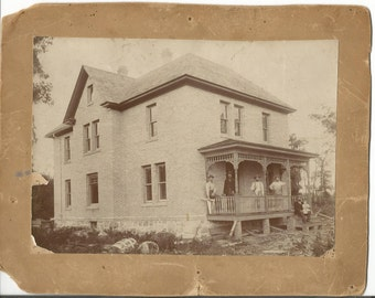 Antique 1900's Cabinet Photo of an Old House Being Built