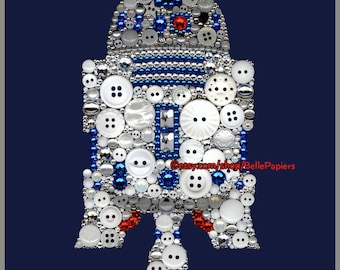 Star Wars Button Art R2D2 Button Canvas Star Wars Decor Swarovski Crystals Boys Room Sign May the force be with you the force is strong with