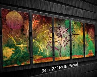 Multi Panel Metal Wall Art Tree Texture