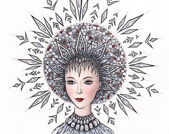 Snegurochka Snow Maiden | Original Mixed Media Illustration