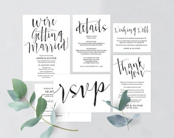 Rustic wedding invitation set, Rustic wedding invitation template download, Editable invitation, Printable wedding stationery set