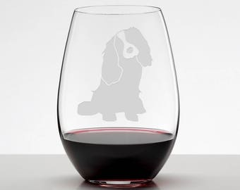 King Charles Cavalier Spaniel Gift Etched Stemless Wineglass