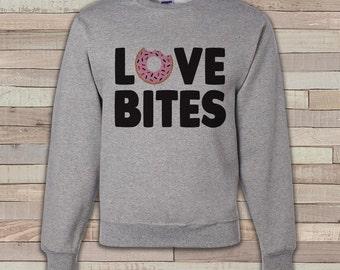 Adult Valentine Shirt - Funny Valentines Day Sweatshirt - Love Bites Valentine Shirt - Anti Valentines Day - Grey Adult Crewneck Sweatshirt