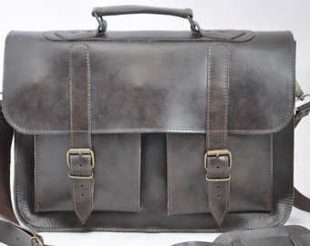 Dark Brown Leather Messenger Bag - 15 inch Laptop Bag - Brown Leather Briefcase