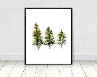 Watercolour Three Pine Trees in a Row Painting Fine Art Print- Giclee Painting Wall Art Print-Home Decor- Nature Poster Prints- 8x10-18X24