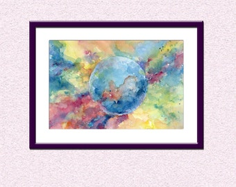 Downloadable Watercolor colorful painting, printable blue planet space cosmos instant download, abstraction abstract sci-fi letter wall art