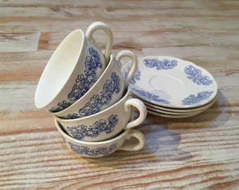 Blue and White, Vintage French Tea Cups. 1940s, Antique Ceramic Floral Patterned Set of 4 Cups and Saucers. Shabby Chic, French Farmhouse.