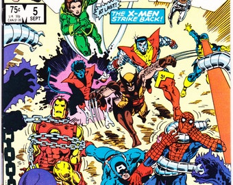 Marvel Secret Wars 5. Avengers comic X-Men book, xmen, She-Hulk, Thor, Captain America, Spider-man, Venom, Fantastic Four. 1984 in NM- (9.2)