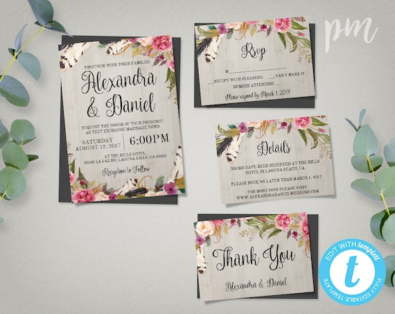 Who To Invite To Your Wedding: Printable Boho Wedding Invitation Template Set RSVP