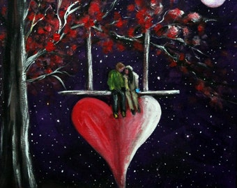 Valentine painting on canvas panel, Original 9 x 12 acrylic painting, Valentine gift ideas, Red heart painting