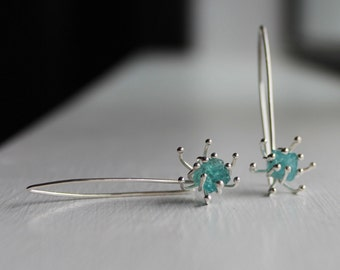 Sale - Rough apatite sea anemone dangle earrings, raw gemstone, gorgeous watery-blue, OOAK, limited time only