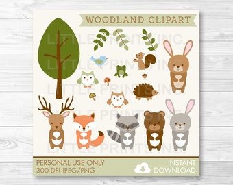 Woodland Forest Animal Clipart Clip Art Fox Deer Bear Owl Raccoon Rabbit Frog Hedgehog Squirrel PERSONAL USE Instant Download A187