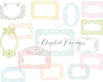 Digital Frames, Labels,  Tags, Photoshop overlay Clip Art  (Set B) PNG files