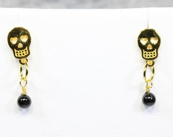 Gold Plated Sterling Silver Sugar Skull Drop Earrings With Black Spinel
