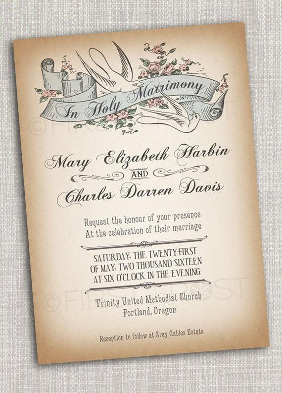 Captivating Vintage Style Printable Wedding Invitation Bridal