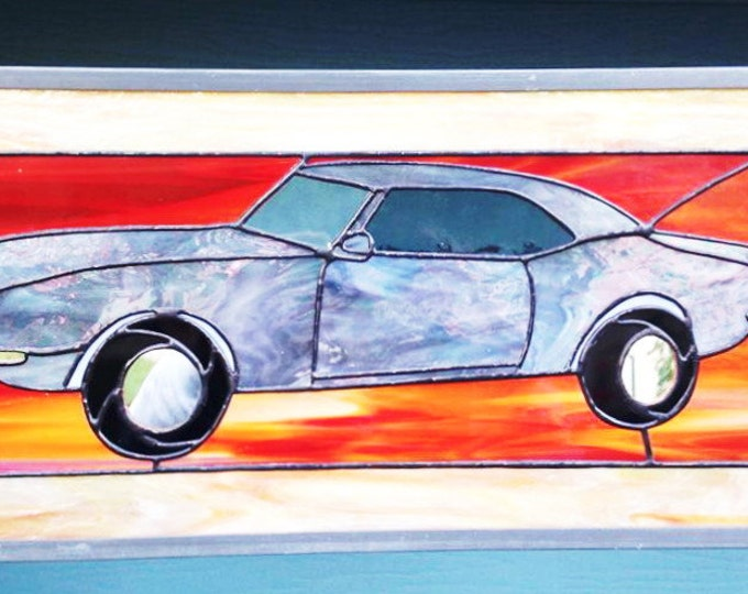 Stained Glass Panel, Stained Glass Window, Tiffany style, muscle car, 1968 Chevy Camaro, personalized gift, Gifts for him, Gift for Dad