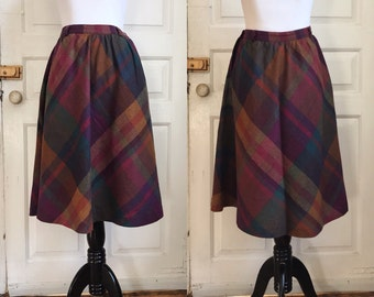 1970s / 70s Vintage Wool Plaid A-line Midi Skirt by Kay Warner Original • S