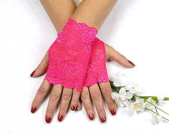 Bright Pink Lace Gloves  - Hot Fuschia Lace Fingerless Gloves - Hot Pink Gloves - Pink Fingerless Gloves - Prom Gloves