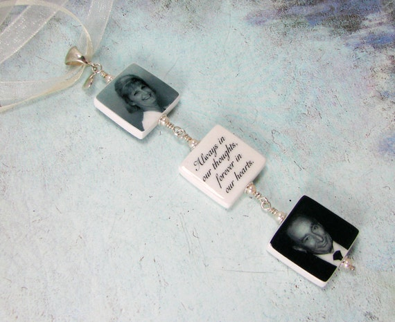 Wedding Bouquet Charms, 3 Small Memorial Photo Charms - BC3x3T