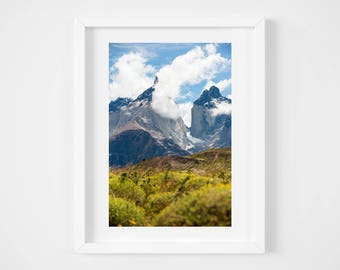 Patagonia print - Chile landscape - Mountain photo - Nature art print - Modern travel decor - Large wall art - 16x20 20x24 - Photo print