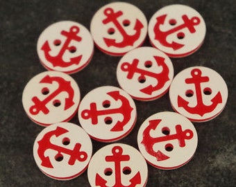 10 x anchor red buttons - 12.5mm - baby/kids craft cards knitting/sewing b110