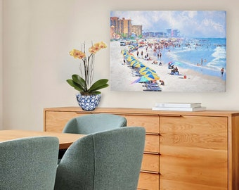 Large Beach Art, Beach and Colorful Umbrellas, Beach Decor, Beach People, Daytona Beach, Beach Art, Beach Scene, Ocean, Coastal Decor, Blue