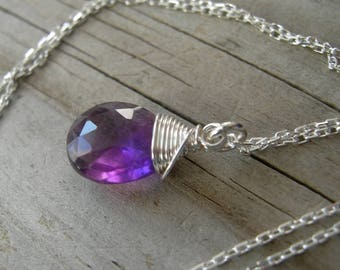 Simple Amethyst Sterling Wire Wrapped Pendant February Birthstone