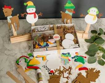 Reindeer and Snowman Kids Paper Puppet Craft Kit of 50 Holiday Gift for holiday party, groups of kids