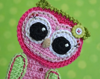 Crochet Baby owl applique - pattern, DIY