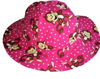 Baby Girl Sun Hat, Baby Sun Hat, Toddler Sun Hat, Cotton Summer Hat, Monkey Sun Hat, Pink Sun Hat, Floppy Beach Hat, Birthday Gift